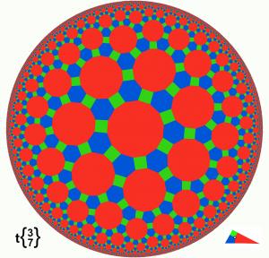 """Hyperbolic tiling omnitruncated 3-7"". Con licenza Pubblico dominio tramite Wikimedia Commons - https://commons.wikimedia.org/wiki/File:Hyperbolic_tiling_omnitruncated_3-7.png#/media/File:Hyperbolic_tiling_omnitruncated_3-7.png"