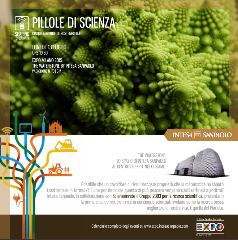 Pillole di scienza. Cinque formule di sostenibilità all'EXPO (13 luglio 2015)
