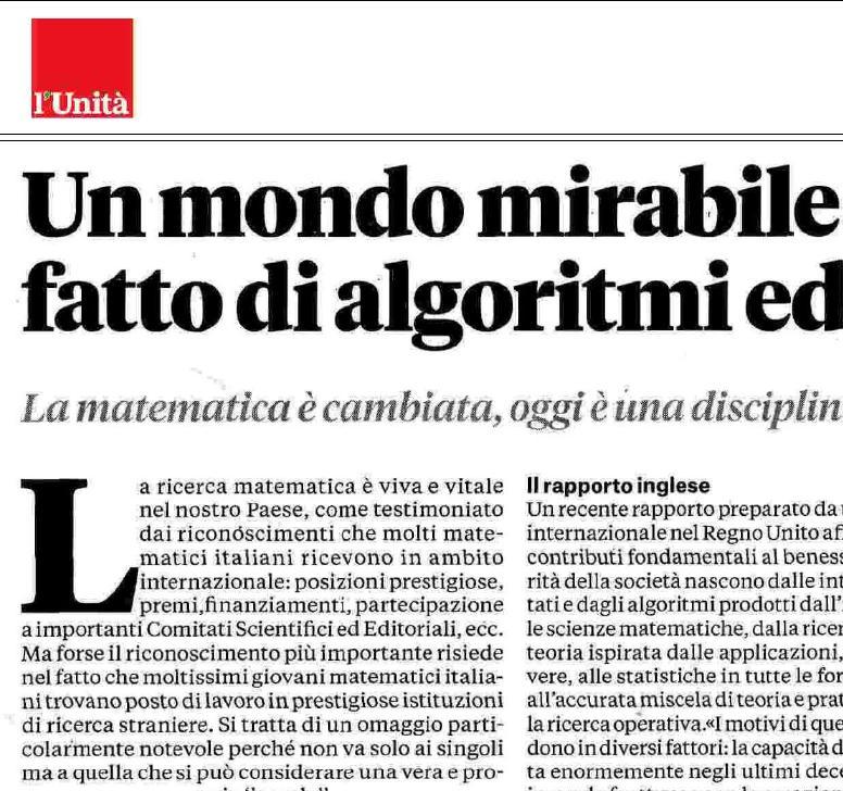 Un mondo mirabile e fantasioso fatto di algoritmi ed equazioni (L'Unità, 10-9-2015)