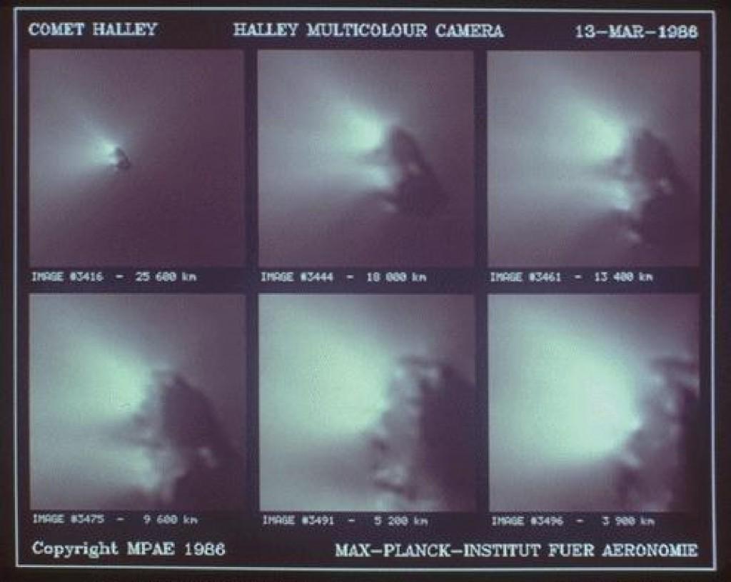 La cometa di Halley ripresa dalla sonda europea Giotto nel 1986
