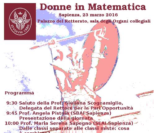 Donne in matematica: evento alla Sapienza Università di Roma (23 marzo 2016)