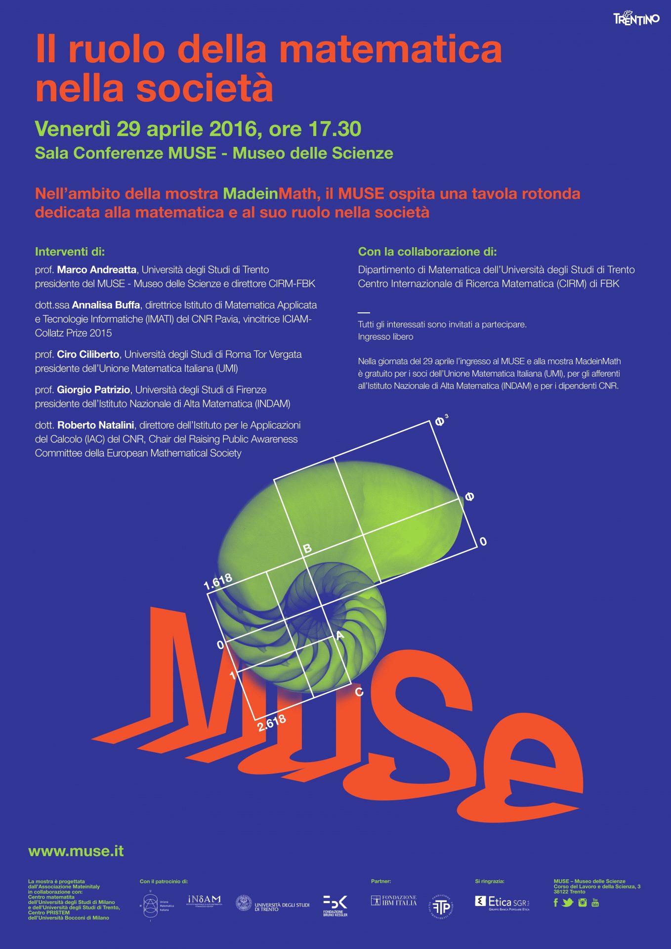 Il ruolo della matematica nella società, Venerdì 29 aprile 2016, ore 17.30 Sala Conferenze MUSE – Museo delle Scienze di Trento