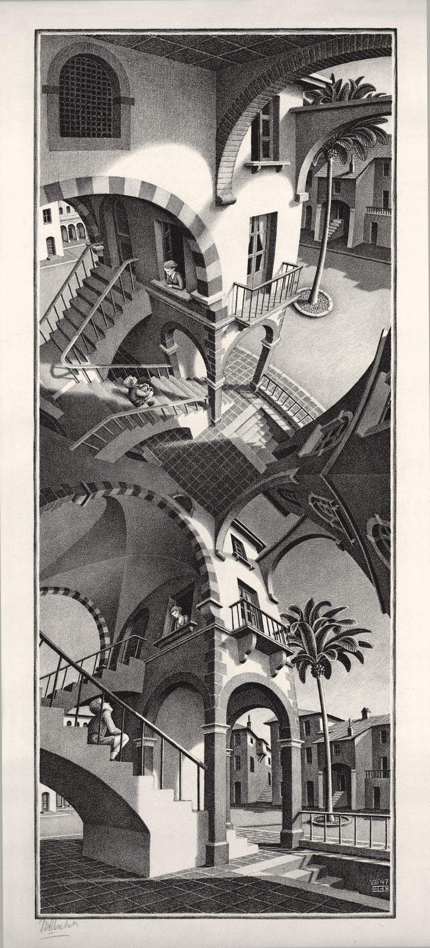 maurits-cornelis-escher-su-e-giu-luglio-1947-litografia-in-colore-marrone-503x205-mm