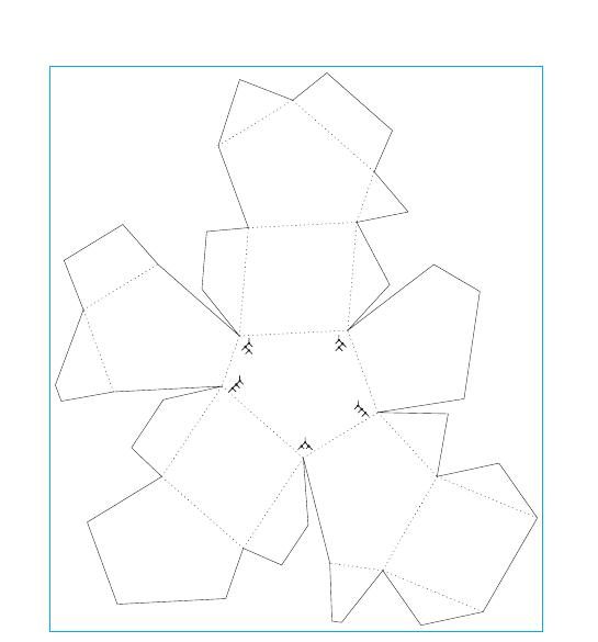 Per costruire il solido del 5-associaedro di cui si parla nel testo, ritagliare la sagoma lungo le linee continue e piegare lungo le linee tratteggiate; incollare poi le linguette sotto alle facce. Sul pentagono centrale sono disegnati gli alberi binari del 4- associaedro.
