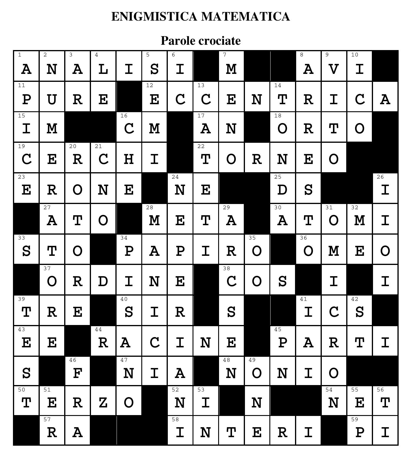 Enigmistica matematica – soluzioni dei giochi di Archimede 1/2019