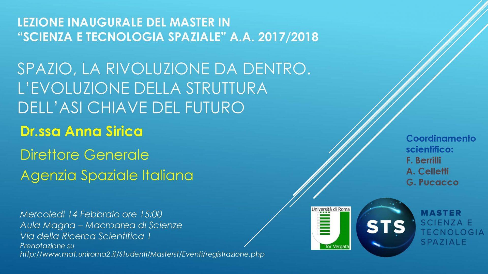 """Lectio Magistralis a Tor Vergata:  """"Spazio, la rivoluzione da dentro.  L'evoluzione della struttura dell'ASI chiave del futuro"""""""