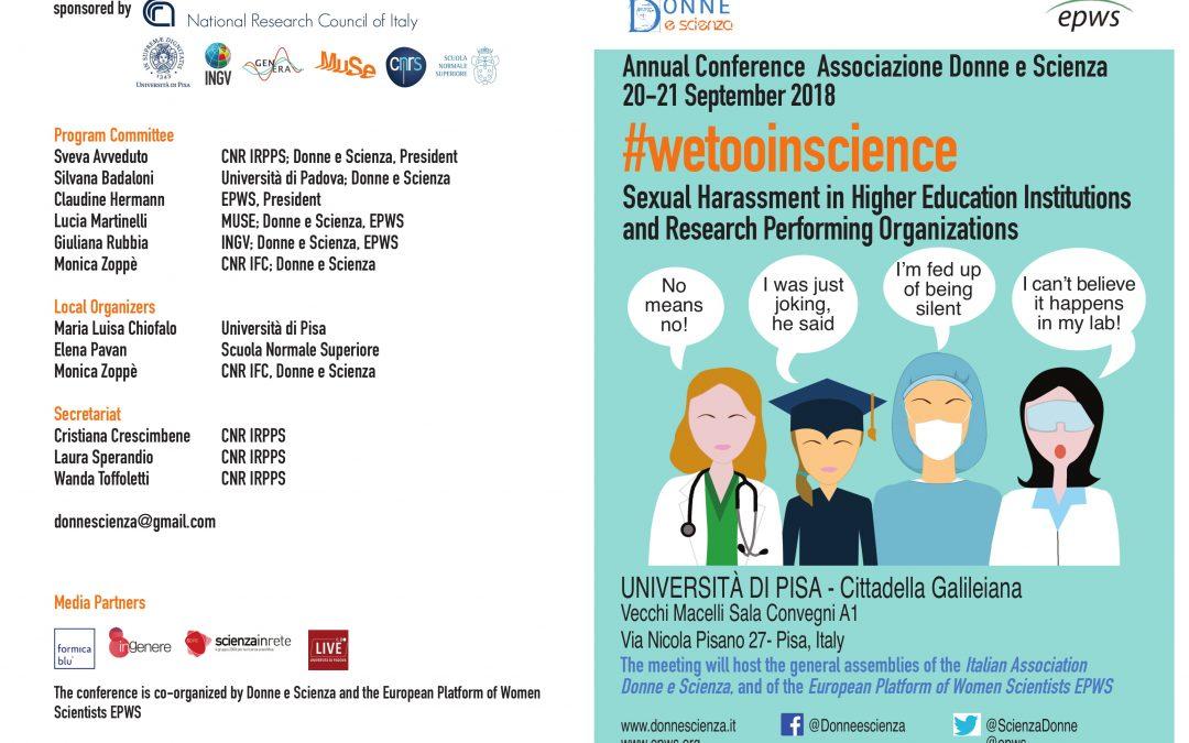 #wetooinscience: conferenza annuale dell'associazione donne e scienza