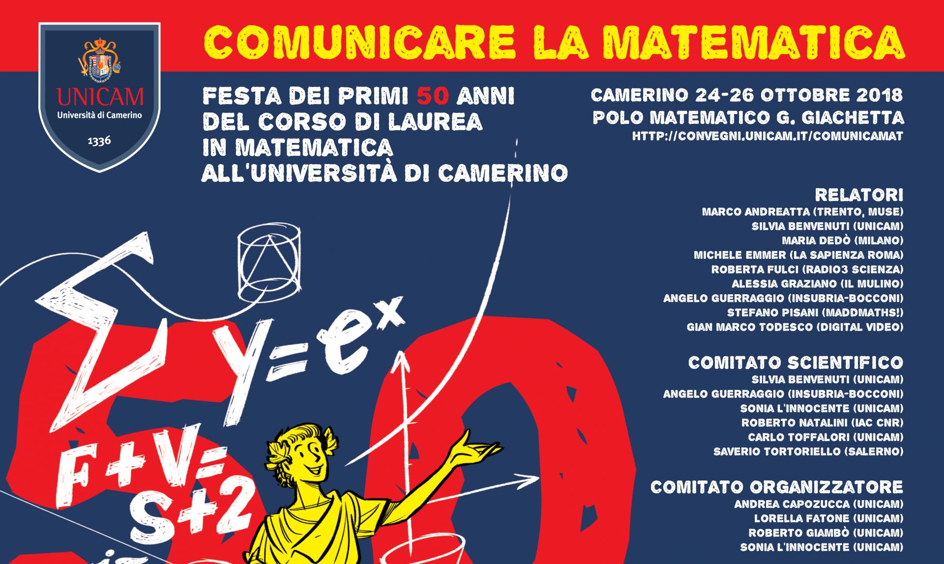 """Convegno """"COMunicare la Matematica"""" a Camerino dal 24 al 26 ottobre"""