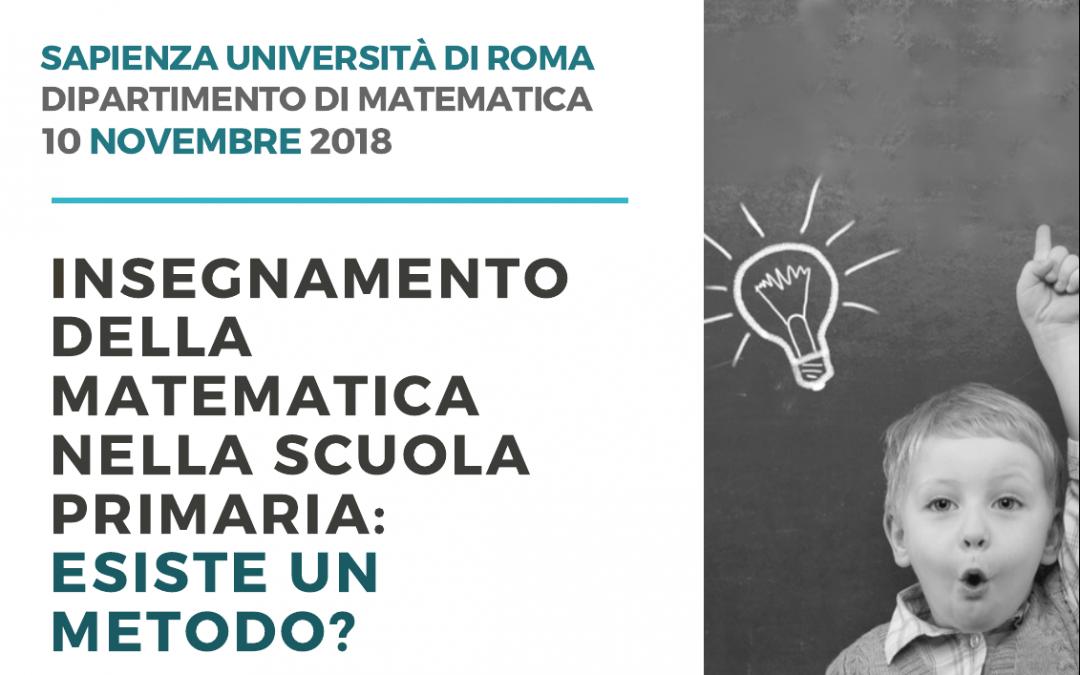 """Giornata di studio: """"Insegnamento della matematica nella scuola primaria: esiste un metodo?"""" – Sapienza Università di Roma, 10 novembre 2018"""
