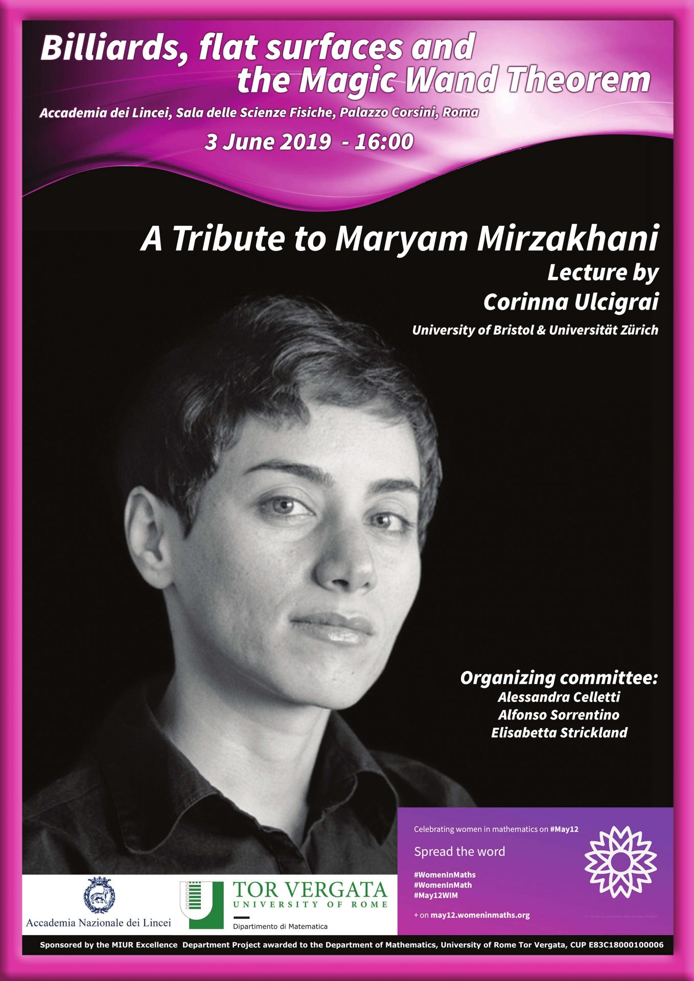 A tribute to Maryam Mirzakhani, 3 giugno 2019 ore 16:00 (Accademia dei Lincei)