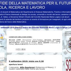 Evento di formazione per gli insegnanti a Parma (9 e 10 settembre 2019): LE SFIDE DELLA MATEMATICA PER IL FUTURO: SCUOLA, RICERCA E LAVORO