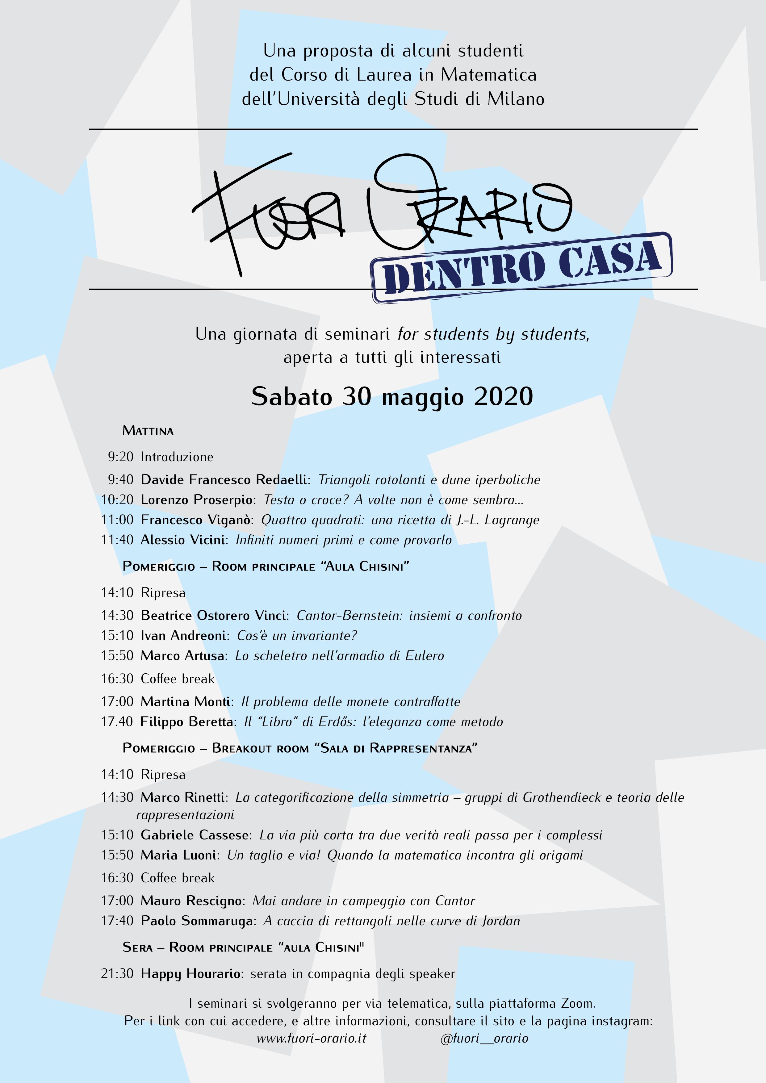 La quarta edizione di Fuori Orario il 30 maggio online!