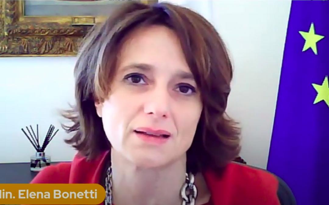 La ministra Elena Bonetti alla festa delle donne matematiche 2021