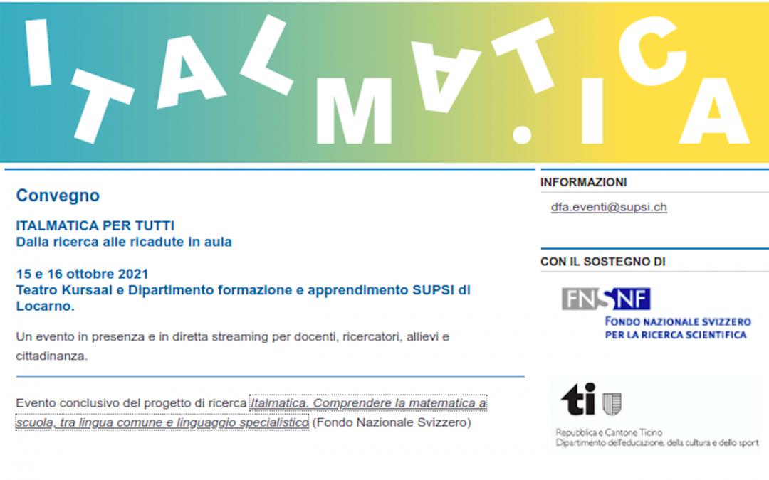 ITALMATICA PER TUTTI – Dalla ricerca alle ricadute in aula – 15 e 16 ottobre 2021