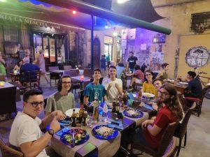 La squadra italiana a cena